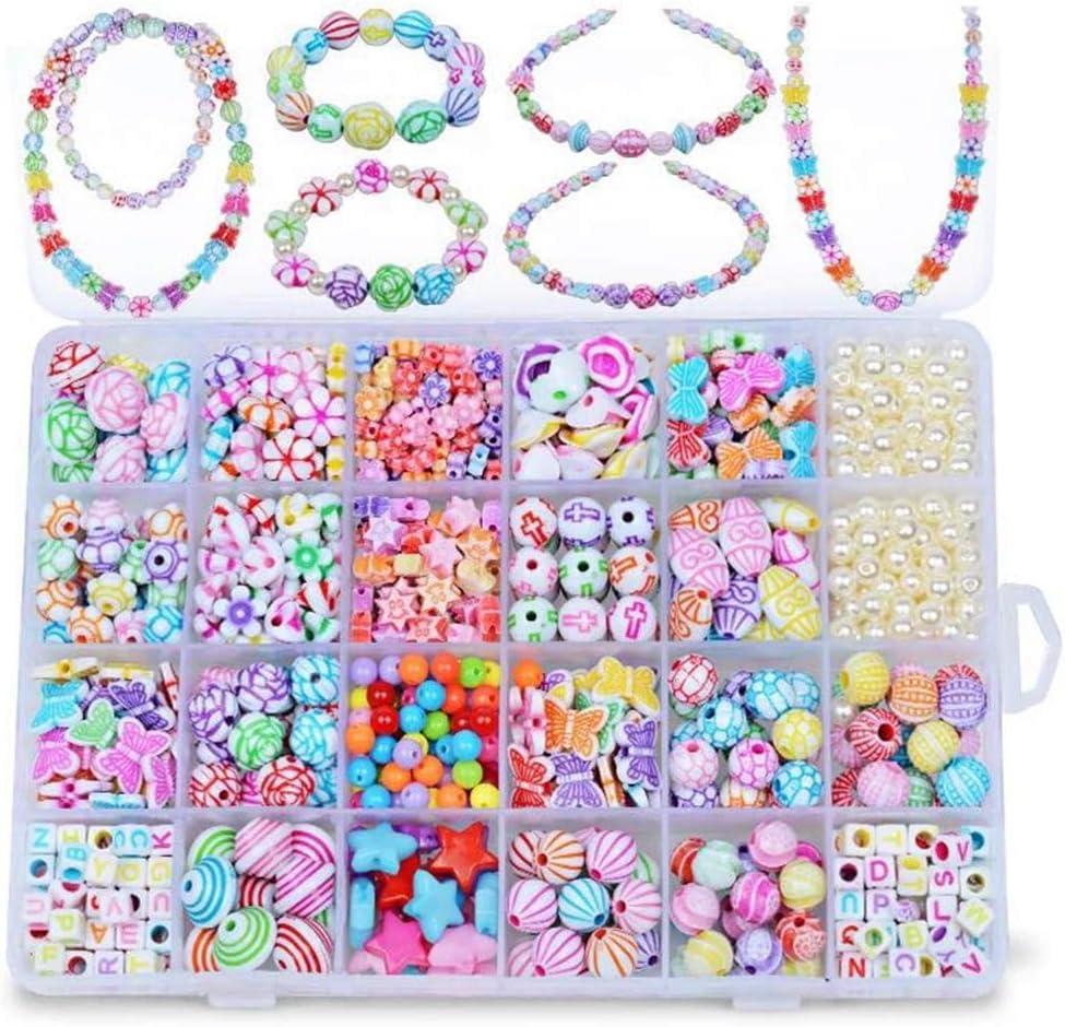 NvWang Cuentas Abalorios,DIY Beads Perlas de Resina Acrílica Cuentas Redondas para la Fabricación de la Joyería con DIY Manualid para niños niña Regalo Pulsera DIY Haciendo Kit