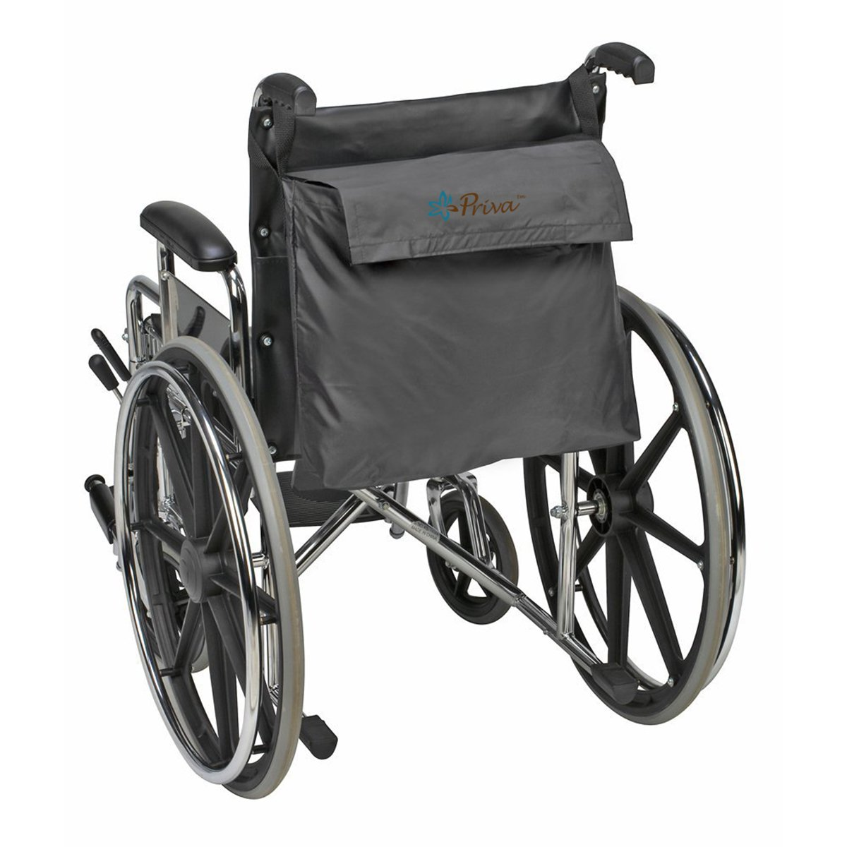 Priva Wheelchair Bag with Velcro Closure and Exterior Pocket,  19'' x 14.5'', Black