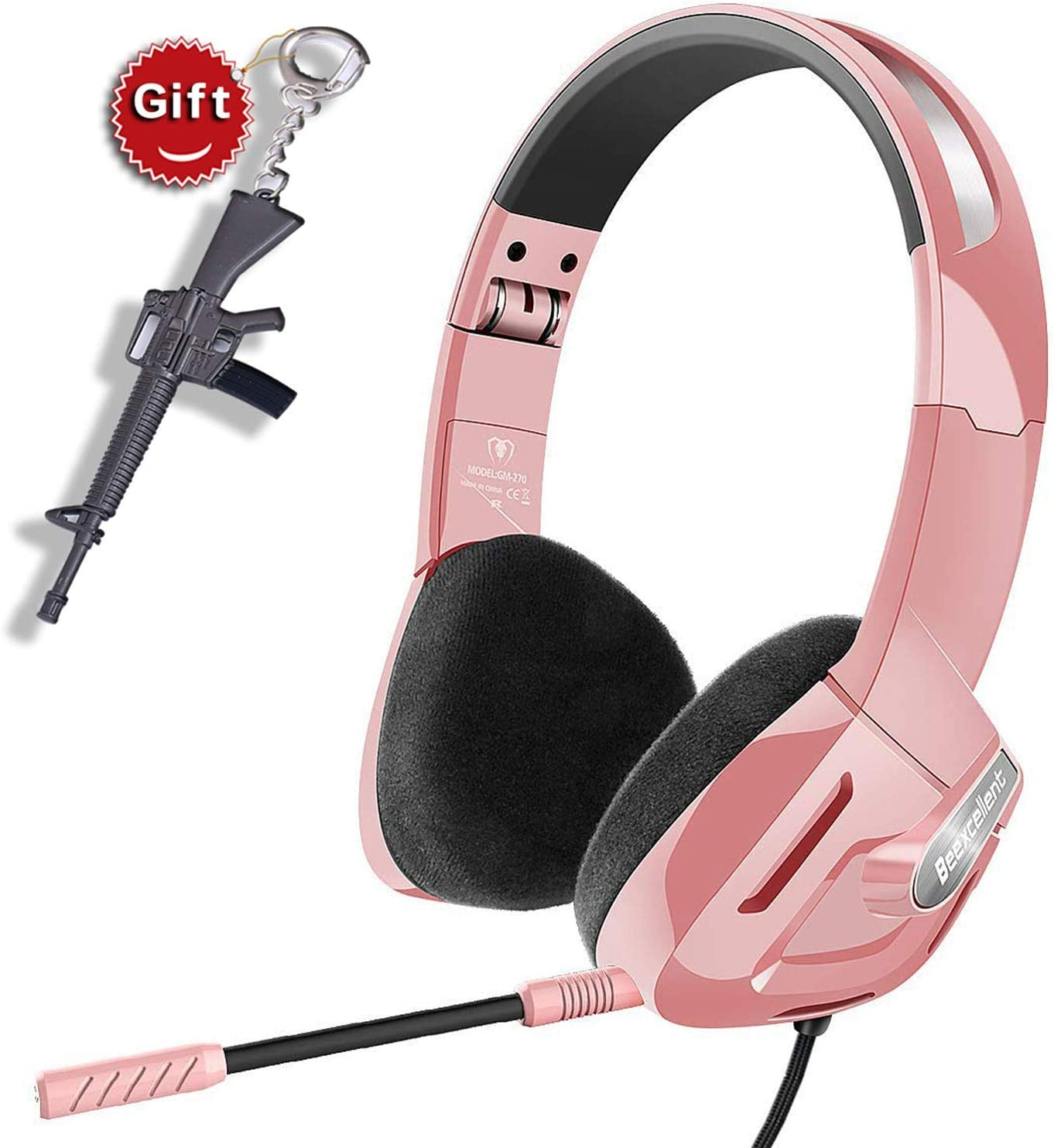 SVYHUOK Pink Gaming Headset for Girl, Women, Kids, PC, PS4, New Xbox One, Foldable On-Ear Headphone with Detachable Mic, Stereo 30MM Speaker Driver Unit Gift for Children, Teenager, Younger