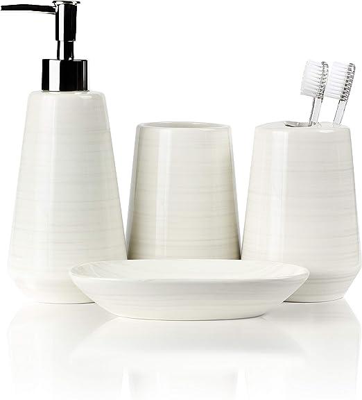Ceramic Bathroom Accessory Set Bath Soap Dispenser Holder Dish Tumbler 4-Piece