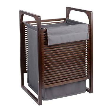 KINGLAND Bamboo Hamper Laundry Storage Basket Bamboo Laundry Hamper with Oxford Fabric Liner