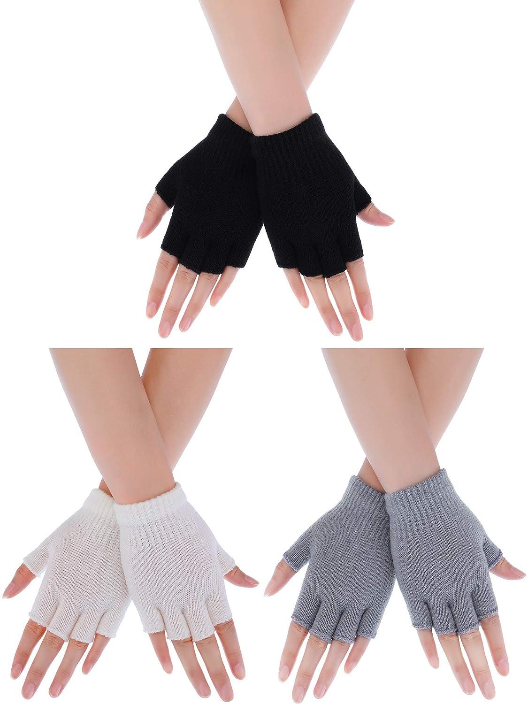 Boao 3 Pairs Toddler Half Finger Mitten Women Girls Knit Mitten Men Boys Winter Knitted Gloves