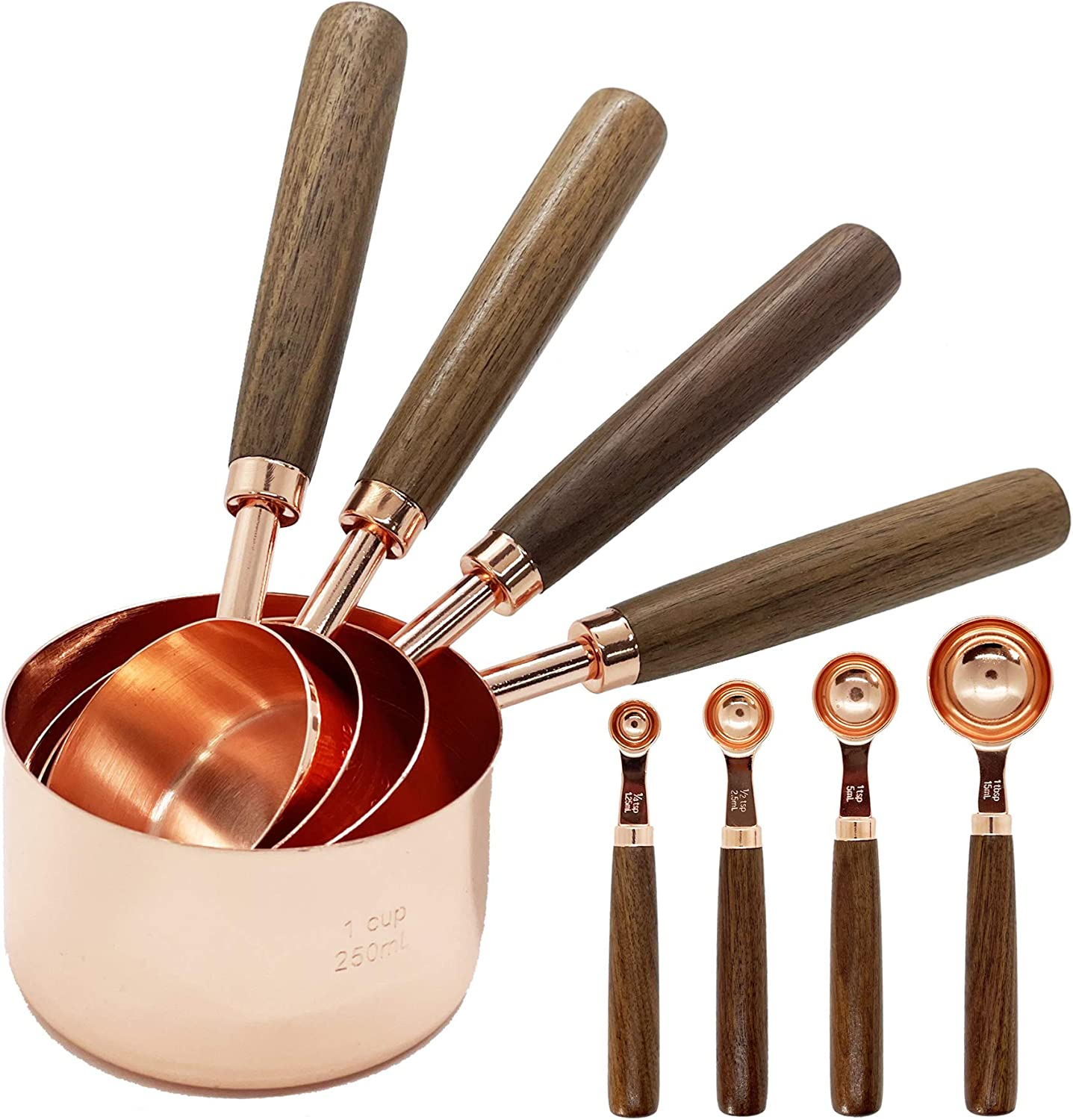 Stainless Steel Measuring Cups and Spoons - Set of 8 Measuring Cups and Spoons Set with Walnut Wood Handle, Nesting Measuring Cup Set for Dry and Liquid Ingredients (Rose Gold)