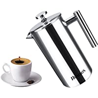 Homdox 18/10 Stainless Steel French Press 34 Oz Coffee Maker