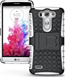 Heartly Flip Kick Stand Hard Dual Armor Hybrid Bumper Back Case Cover For LG G3 D855 - White