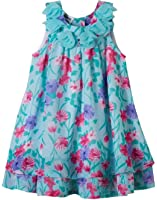 Blueberi Boulevard Girls Floral Chiffon Dress, Seafoam