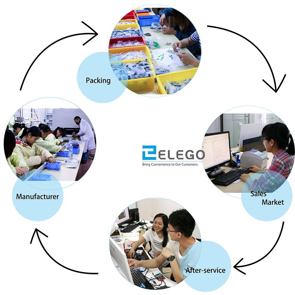 ELEGOO Kit de Componentes Electr/ónicos con Resistencias Mega 2560 Compatible con Arduino IDE Leds UNO R3 Conmutadores Nano Potenci/ómetros Raspberry Pi Hoja de Especificaciones Disponible