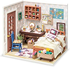 ROBOTIME Dollhouse Kit DIY Miniature Dollhouse with Furniture 1:24 Scale Miniature House Model - Anne's Bedroom