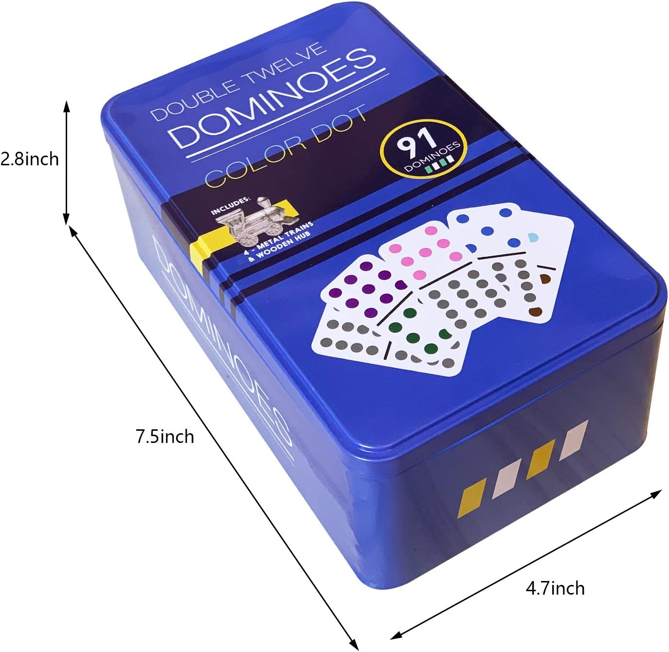 and Collectors Tin 91 Pieces Set Toy in Tin Case with Wooden Hub 4 Metal Trains Perfect for Kids or Families Redipo Double 12 Colored Dot Dominoes