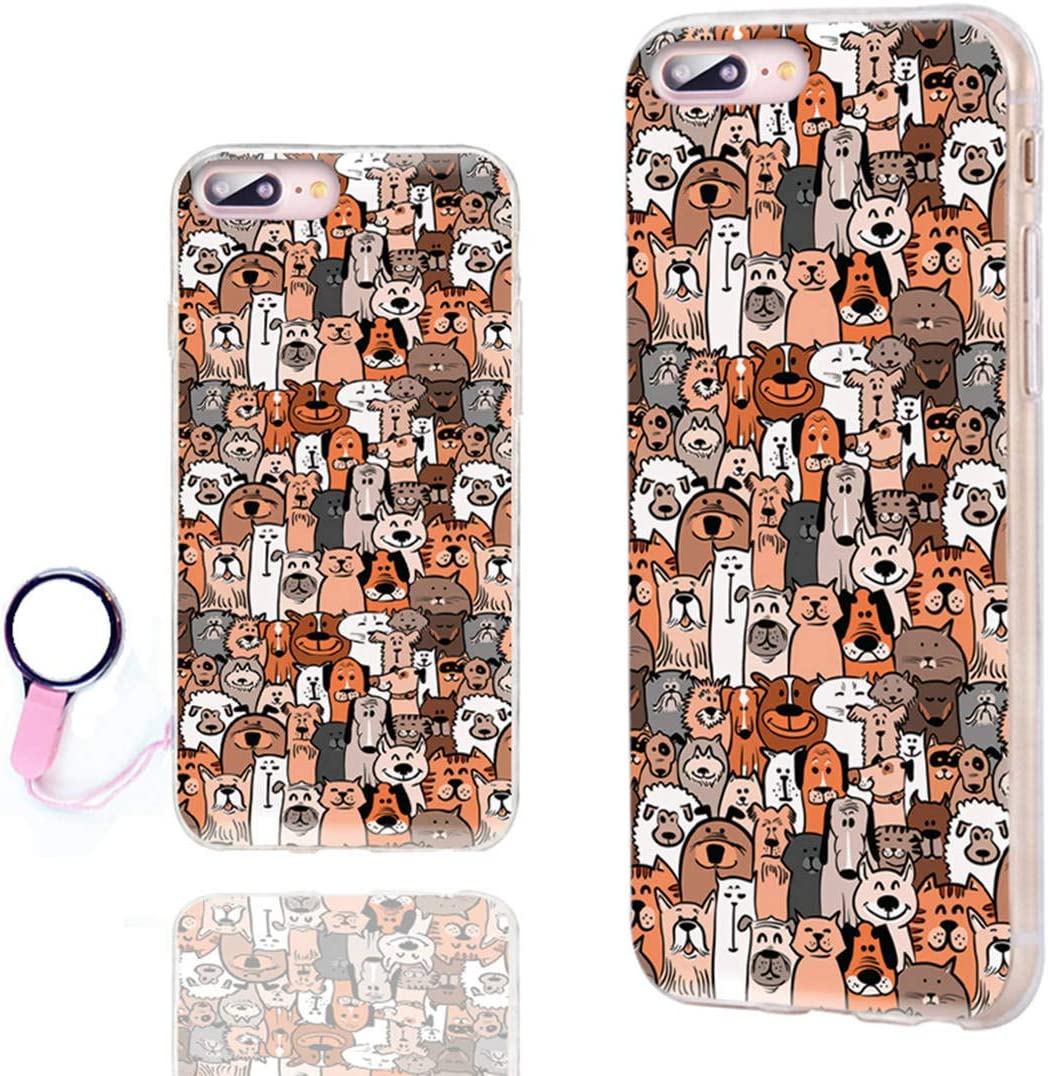 ChiChiC iPhone 8 Plus Case Cool,iPhone 7 Plus Case Cute,Slim Flexible Soft TPU Rubber Clear Protective Cases Cover with Design for iPhone 8 7 Plus 5.5 Inch,Cute Cartoon Animal Brown Dogs and Cats Pet
