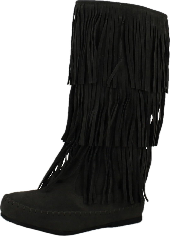 Pierre Dumas Womens Apache-4 Moccasin Fringe Boots B010T8I8OM 8.5 B(M) US|Grey