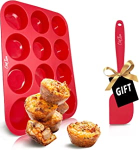 Silicone Muffin Pans Cupcake Baking Pan, 12 Cup&24 Mini Cup, BPA Free & NonStick Food Grade Silicone Mold Set with Spatula (12cup (Red))