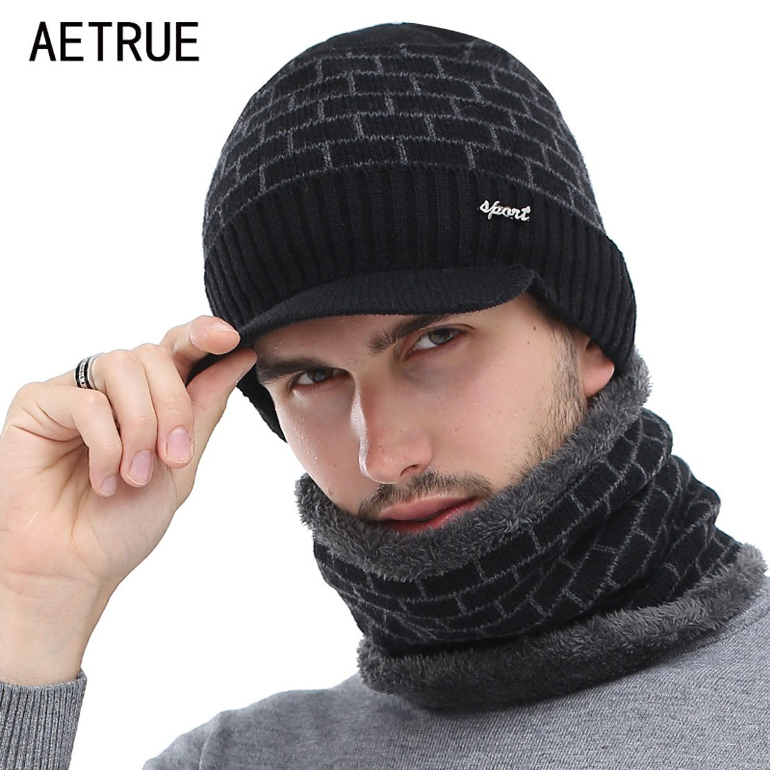 fc240bd92ce AETRUE Winter Hat Skullies Beanies Men Women Knitted Hat Scarf Winter Caps  Mask Balaclava Bonnet Cap Wool Fur Beanies Hats 2018 (Dark Grey) at Amazon  Men s ...