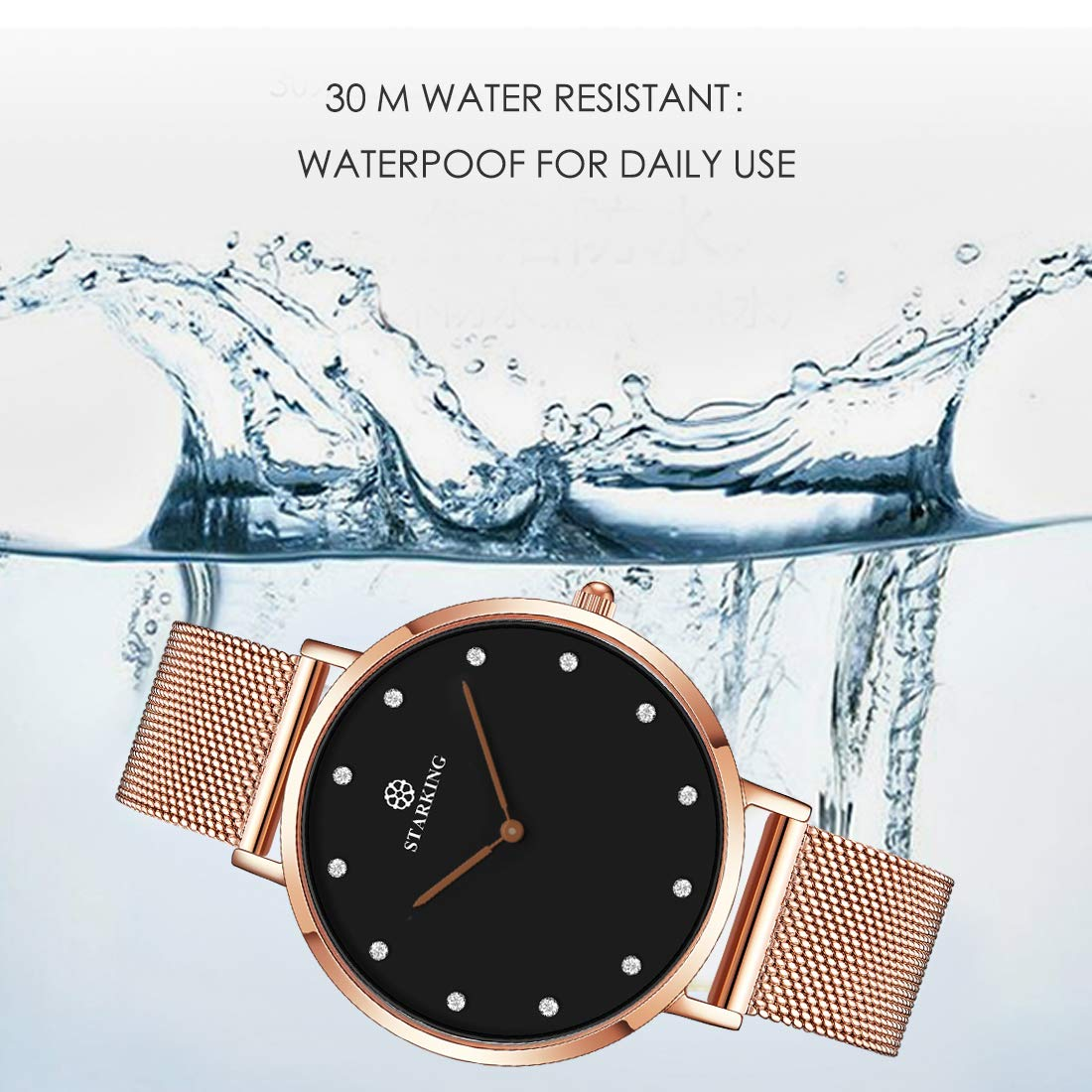 Amazon.com: STARKING Womens Minimalist Ultra Thin Rose Gold Watch Black BL0997 Analog Japanese Quartz Stainless Steel Mesh Watch …: Watches