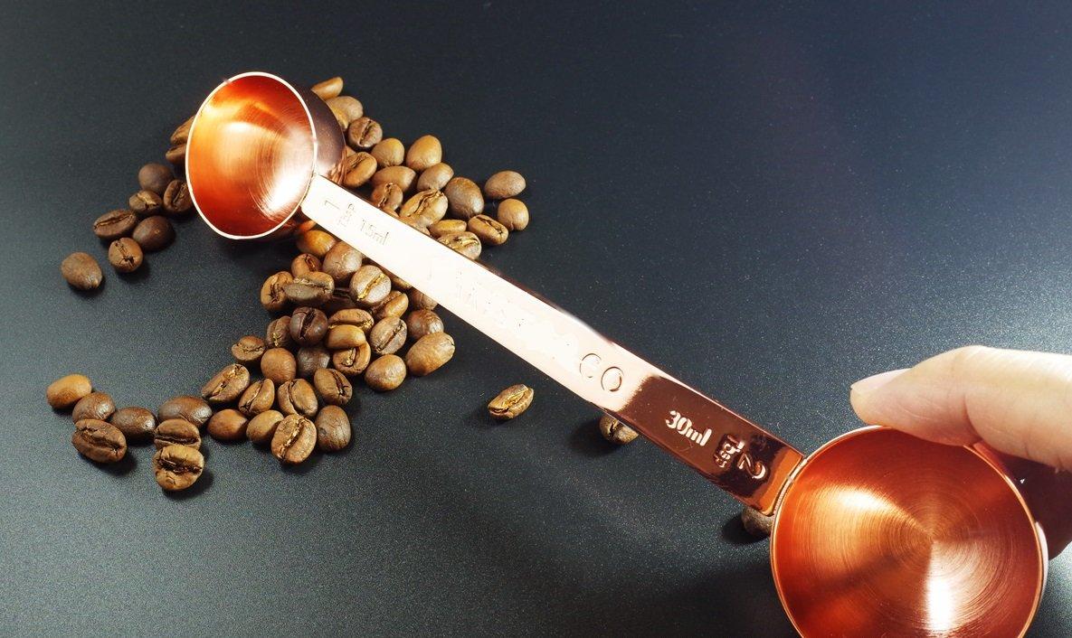 Betan 430 Stainless Steel 2 Side Coffee Scoop Spoon Measure-1&2Tablespoon Rose Gold by Betan (Image #5)