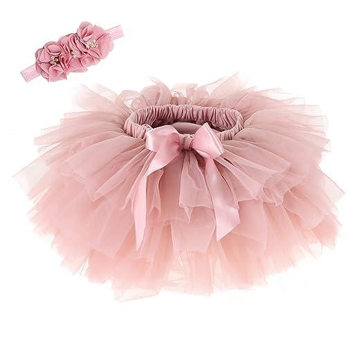 d580e1d42 Baby Girls Tutu Skirt Headband Set Newborn Toddler Ruffle Tulle Diaper  Covers 0-24 Months