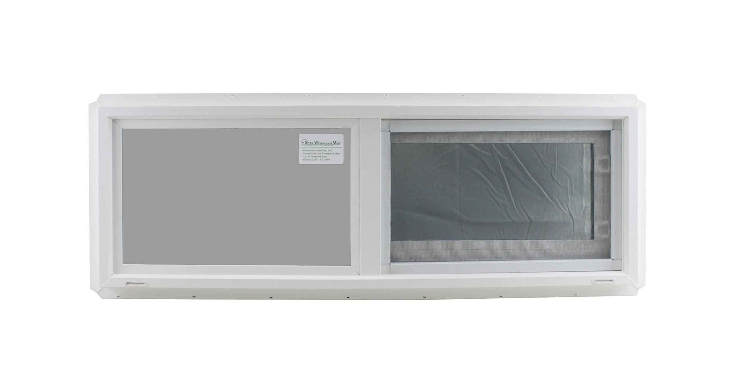 Window 36'' x 12'' Double Pane Tempered Glass Low-E PVC Frame Horizontal Slider