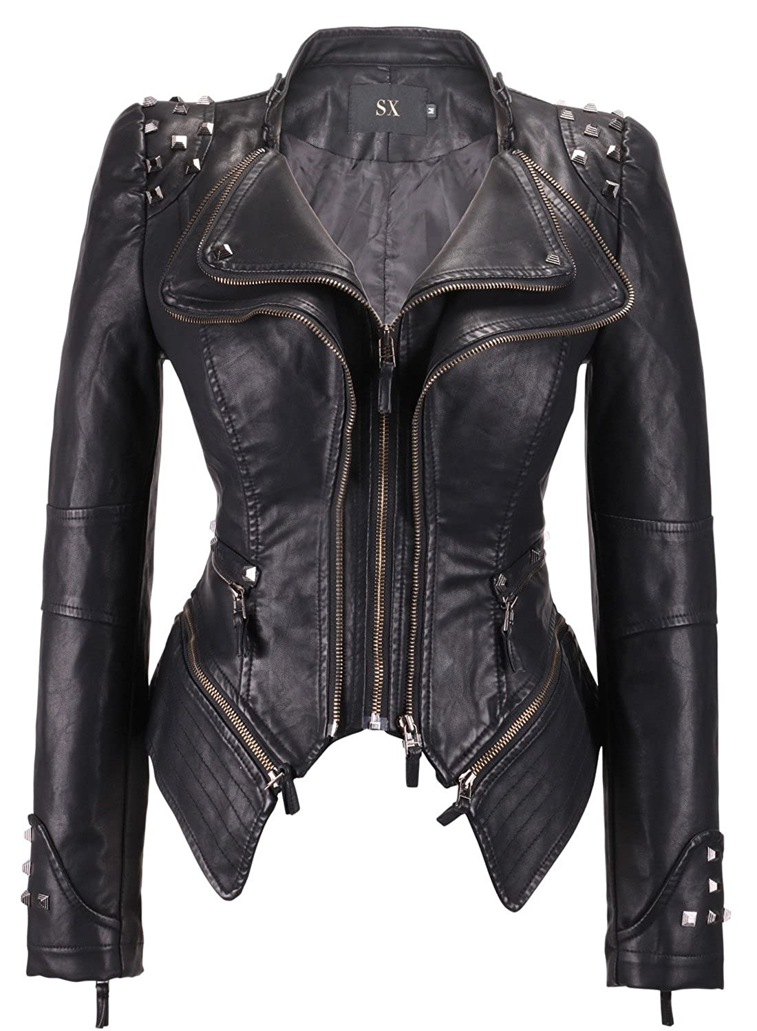 4efbb7e35 chouyatou Women's Fashion Studded Perfectly Shaping Faux Leather Biker  Jacket