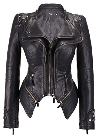 Image result for black and white Leather jacket for woman