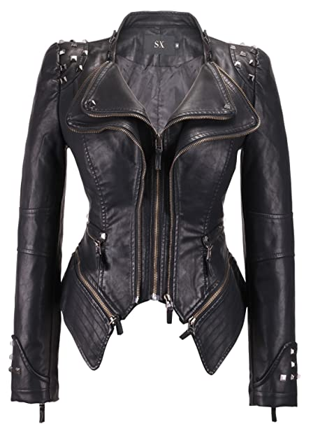 chouyatou Womens Fashion Studded Perfectly Shaping Faux Leather Biker Jacket