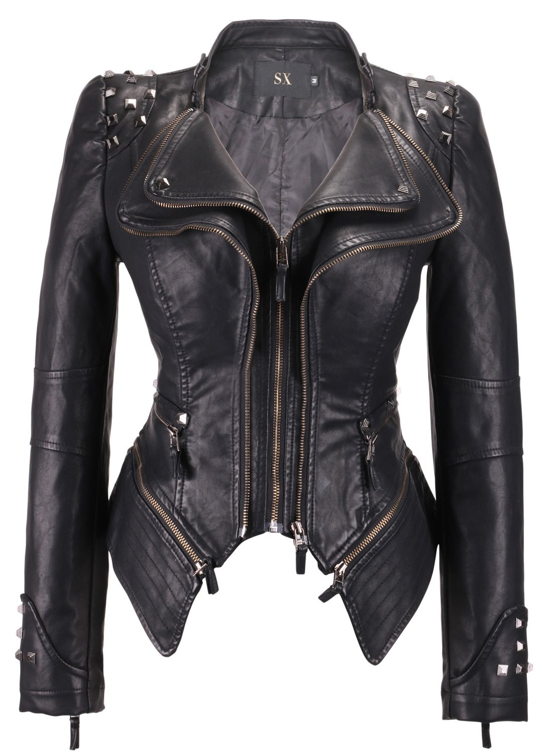 Chouyatou Women's Fashion Studded Perfectly Shaping Faux Leather Biker Jacket (Medium, Black)