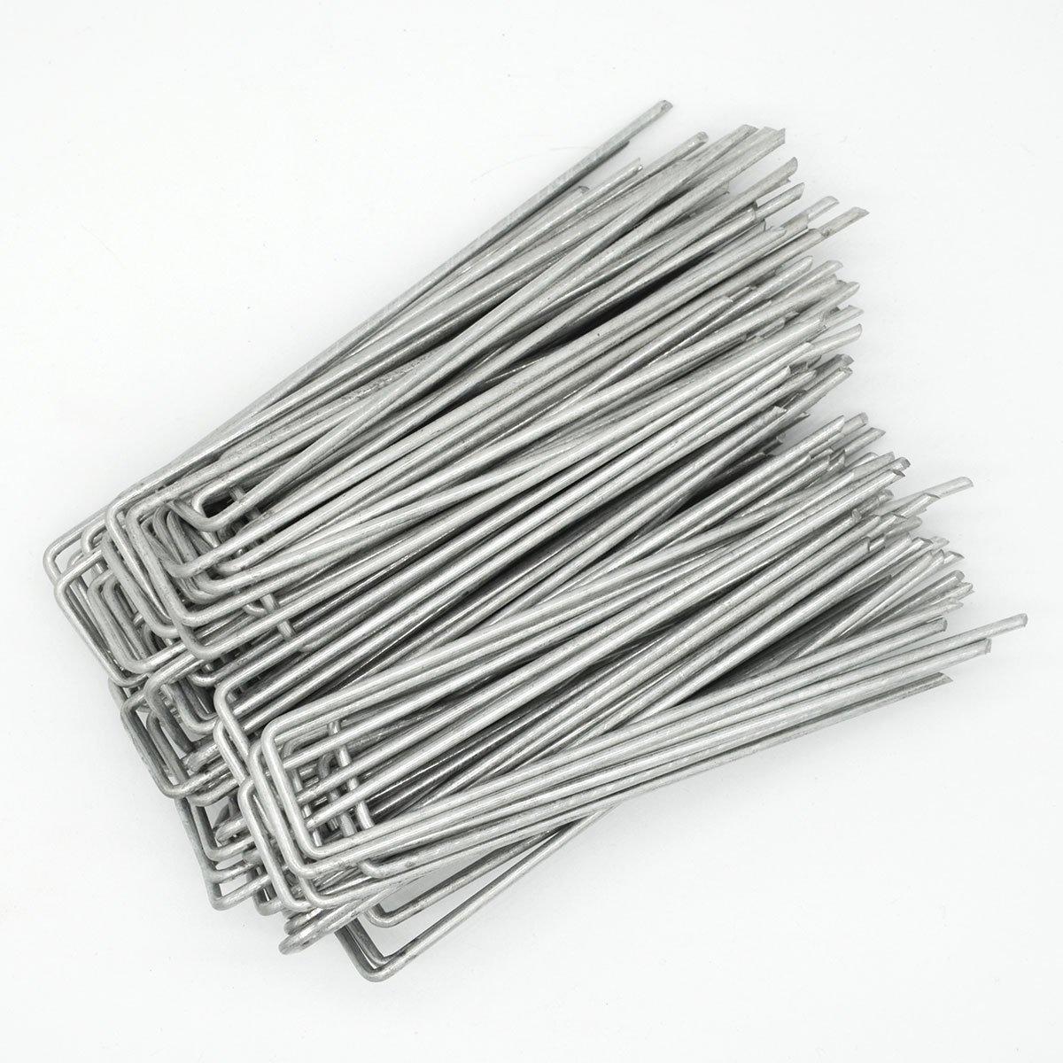 AMANKA Set de 100 Estacas de Acero galvanizado 150x30mm Metal Ø3,2mm para anclar Lonas al Suelo en Forma de U Anguloso: Amazon.es: Jardín