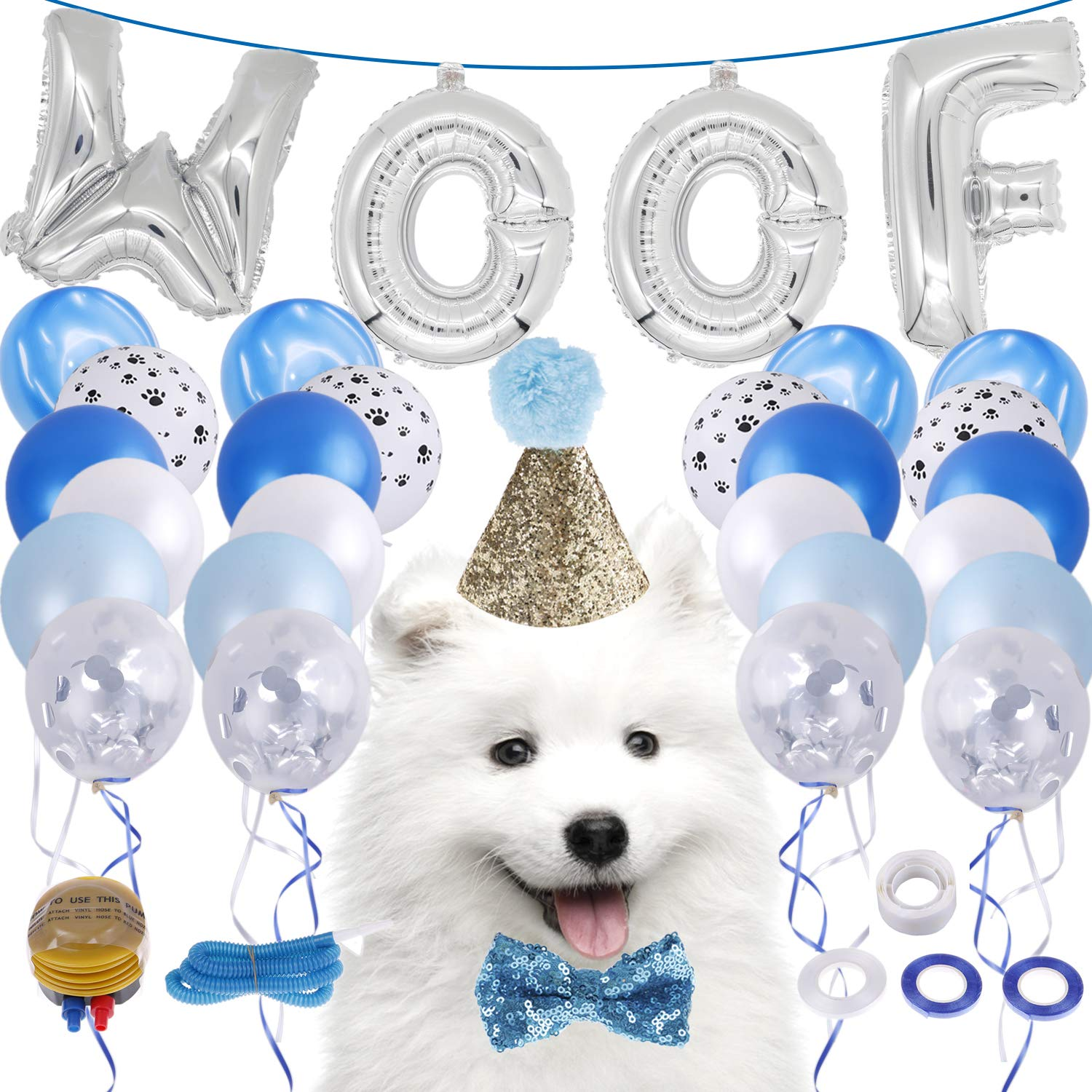 bluee LOCOLO Dog Birthday Party Supplies,20 Pieces bluee Balloons,Party Decorations Paw Balloons,Dog Birthday Bow Tie and Hat,WOOF Letter Latex Balloons,Balloon Ribbon,Balloon Glue and Balloon Pumps (bluee)