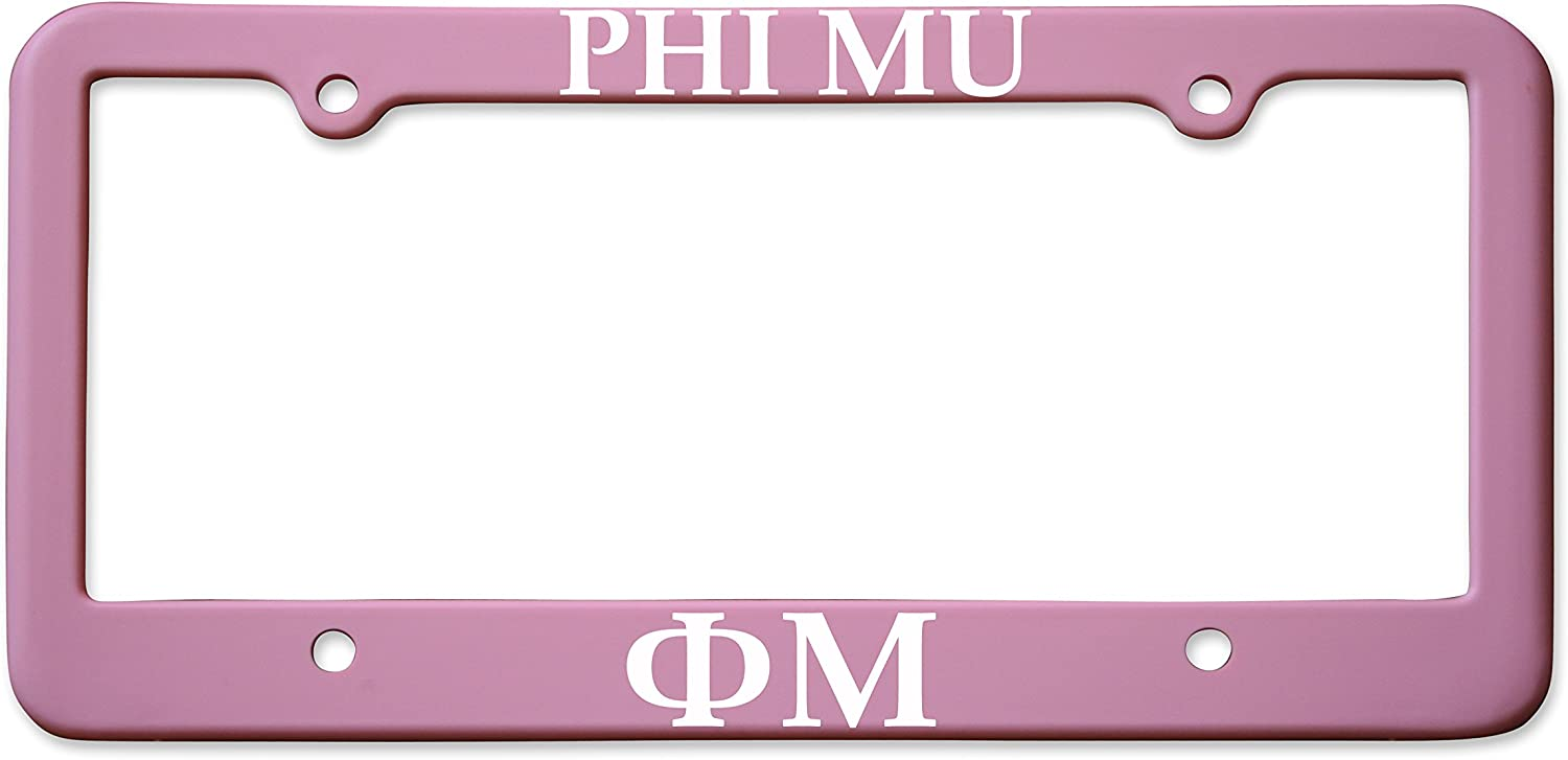 Matte Pink Officially Licensed Phi Mu License Plate Frame