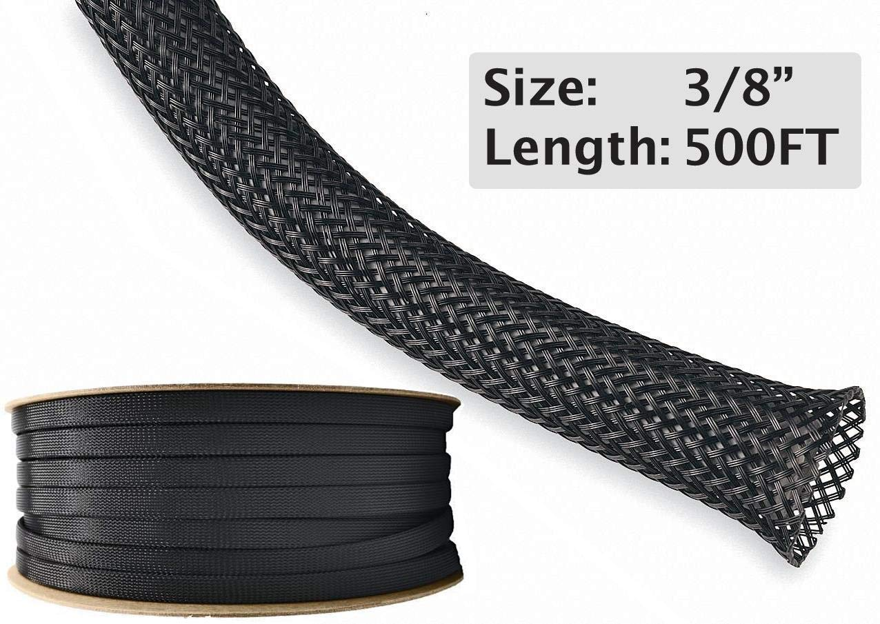 3/8'' PET Expandable Braided Sleeving - 500 Feet - Color: Black