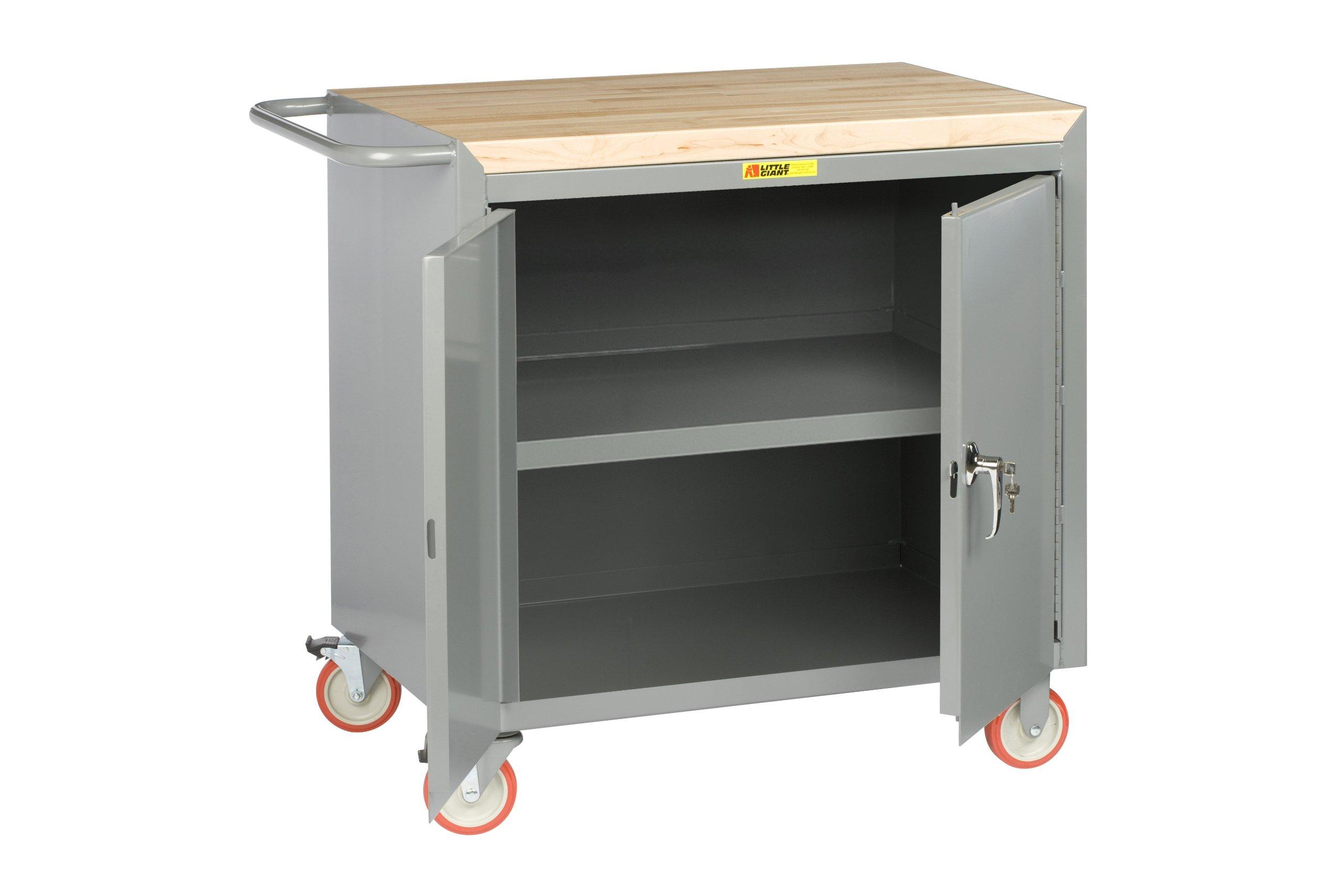 Little Giant MCJ3-2D-2436-TL 14 Gauge Steel Locking Doors Mobile Bench Cabinet with Center Shelf and 1-3/4'' Butcher Block Top, 1200 lbs Capacity, 36'' Width x 24'' Depth