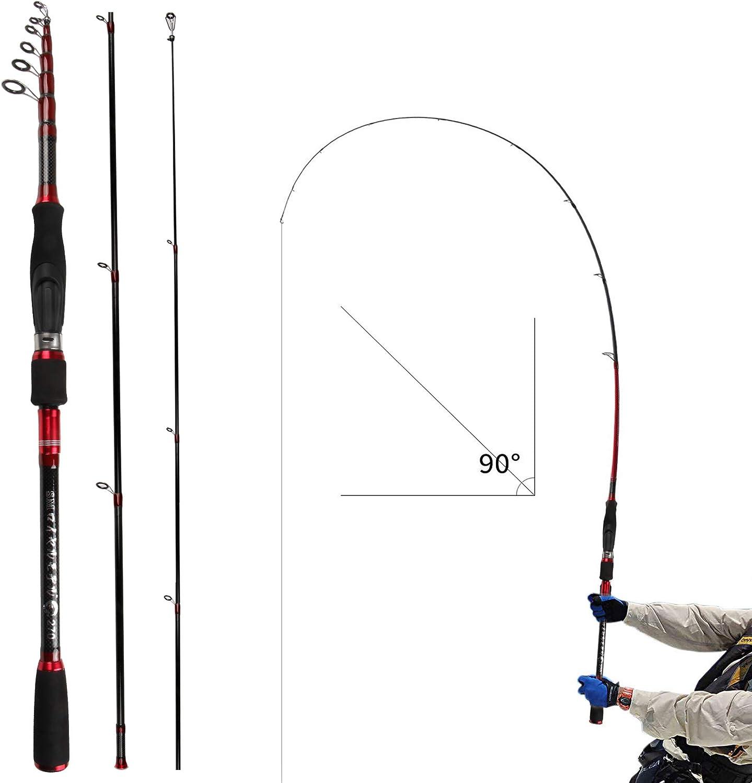 REAWOW Deep Sea Telescopic Fishing Rod Portable Carbon Fiber Mini Ultralight Carp Fishing Rods for Travel Saltwater Freshwater Bass Offshore Fishing