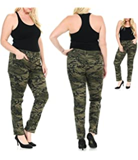 bea32996f48ce K071 WOMENS PLUS SIZE Stretch JEAN ARMY Camo Camouflage Skinny DENIM JEANS  PANTS