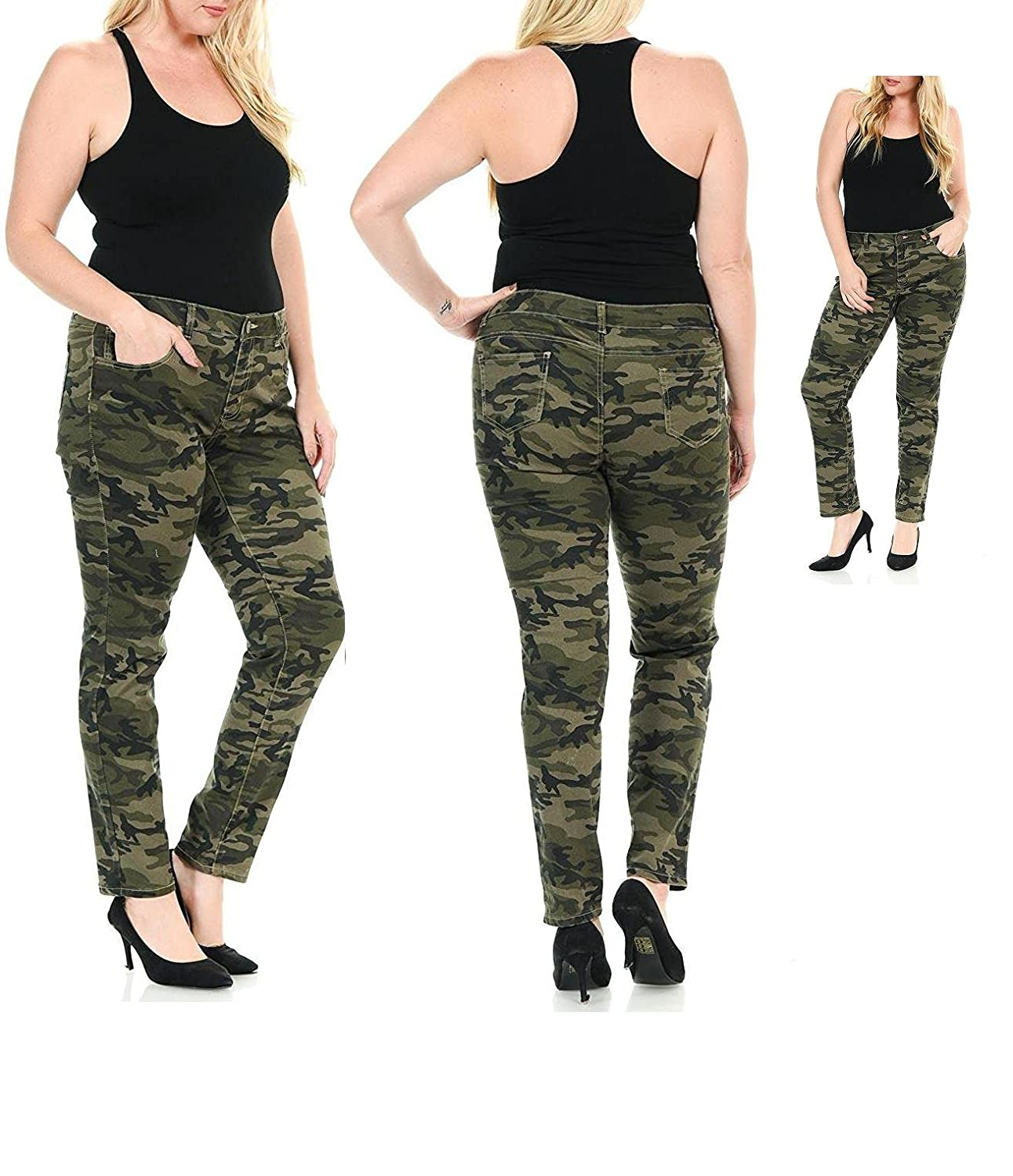 8bd639454460d These PREMIUM Camouflage denim jeans pants are comfortable and amazingly  versatile. PLUS SIZE WOMENS JEANS PANTS SKINNY LEG SIZE-14 16 18 20 22 24  rear ...