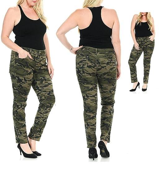 7170d8cbc729 K071 WOMENS PLUS SIZE Stretch JEAN ARMY Camo Camouflage Skinny DENIM JEANS  PANTS (14-