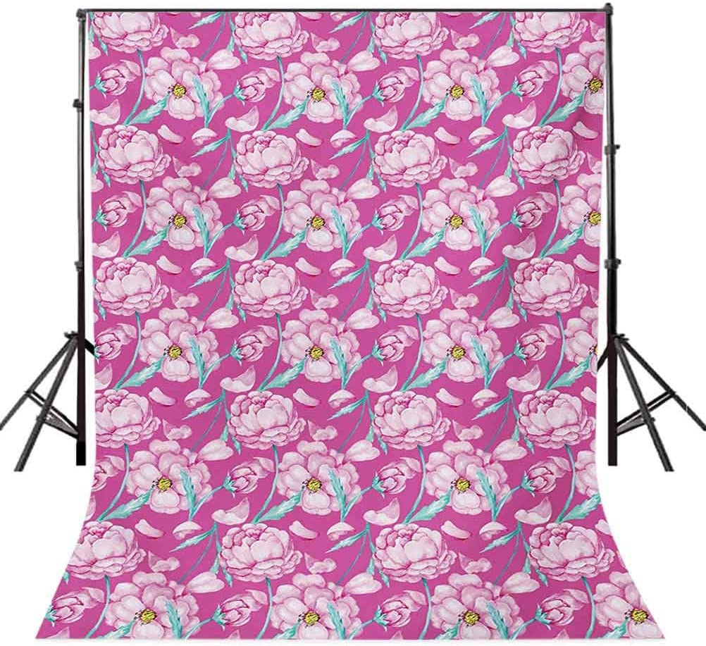 6.5x10 FT Photography Backdrop Peony Flowers Blossom in Vibrant Colors Watercolor Japanese Feminine Bouquet Art Background for Photography Kids Adult Photo Booth Video Shoot Vinyl Studio Props