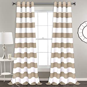 Stripe Window Curtain Striped Room Window Treatment Grommet Curtains 52 × 84 Inches Stripes Drapes for Bedroom Living Room, Taupe, Set of 2 Panels