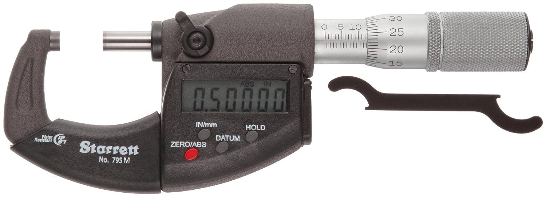 Starrett 796MXFL-25 LCD Outside Micrometre, IP67, Friction Thimble, Lock Nut, Carbide Faces, 0-25mm Range, 0.001mm Graduation