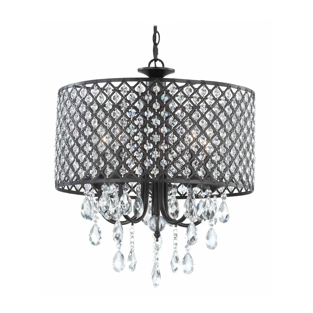 Crystal Chandelier Pendant Light With Beaded Drum Shade