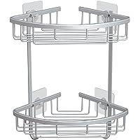 Hoomtaook doucheplank zonder boren badkamerplank roestvast zelfklevend aluminium geven een zeepkist 2 laags zilver