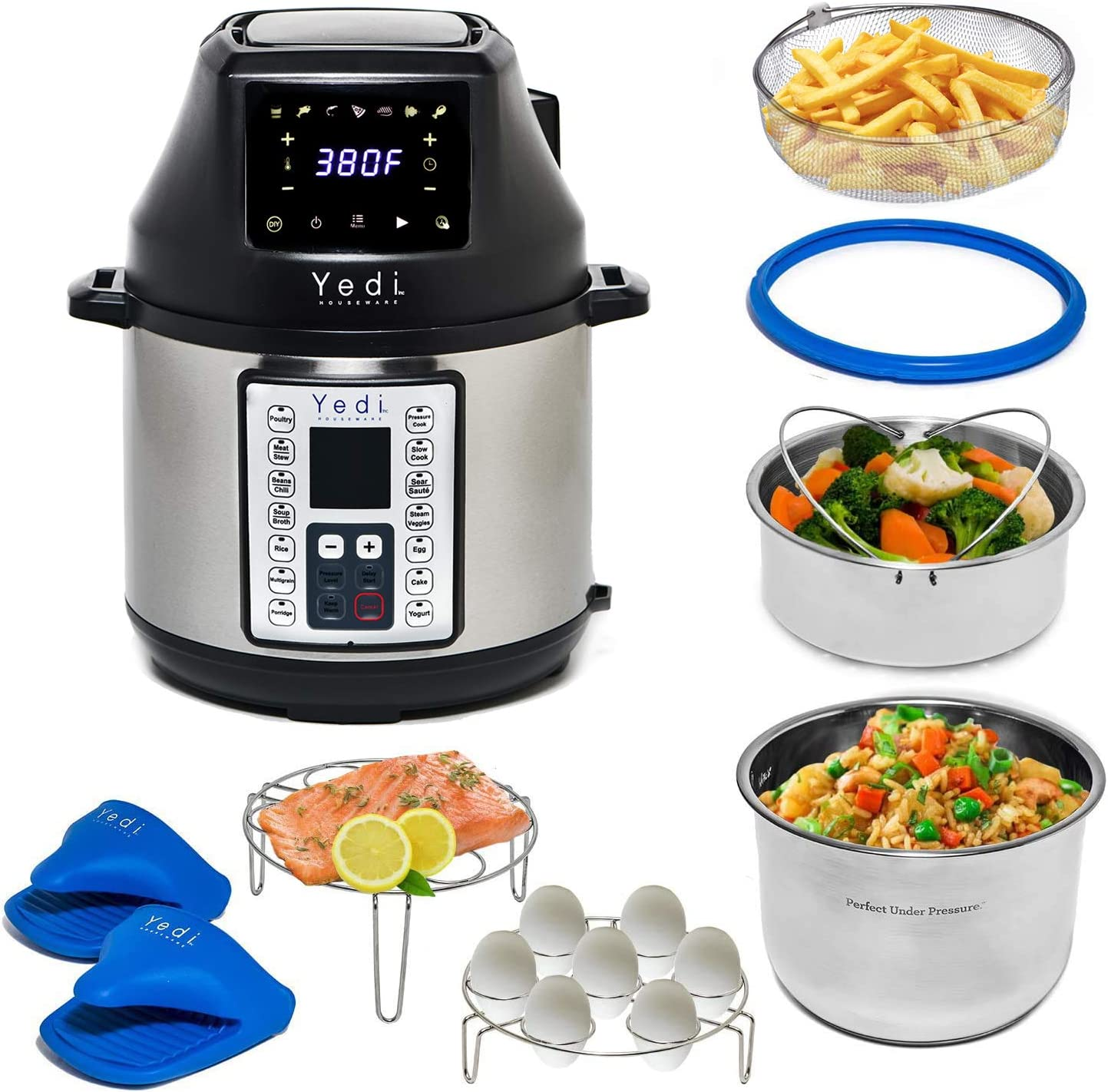 Yedi Tango, 2-in-1 Air Fryer and Pressure Cooker, 6 Quart, with Deluxe Accessory kit