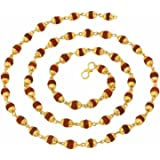 The Jewelbox 22K Gold Plated Rudraksh Mala Chain 24 & 28 Inches