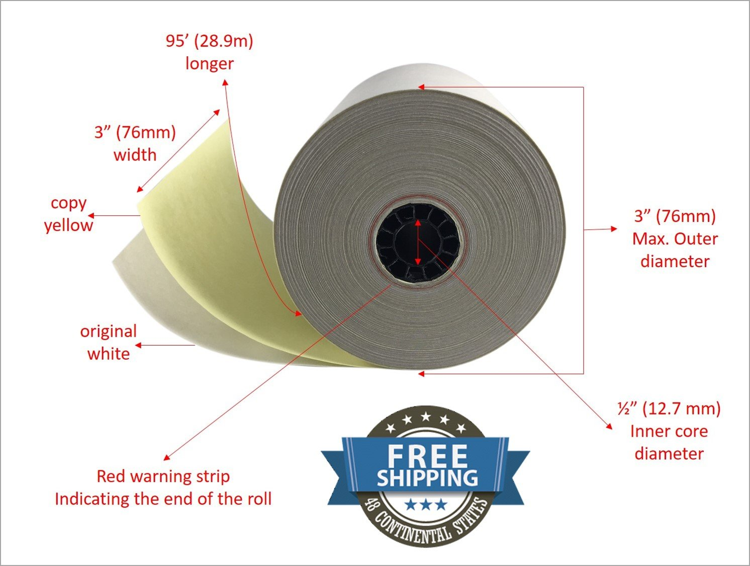 2 ply Carbonless Copy Paper Roll White/Canary 3 x 95 (24 Rolls)