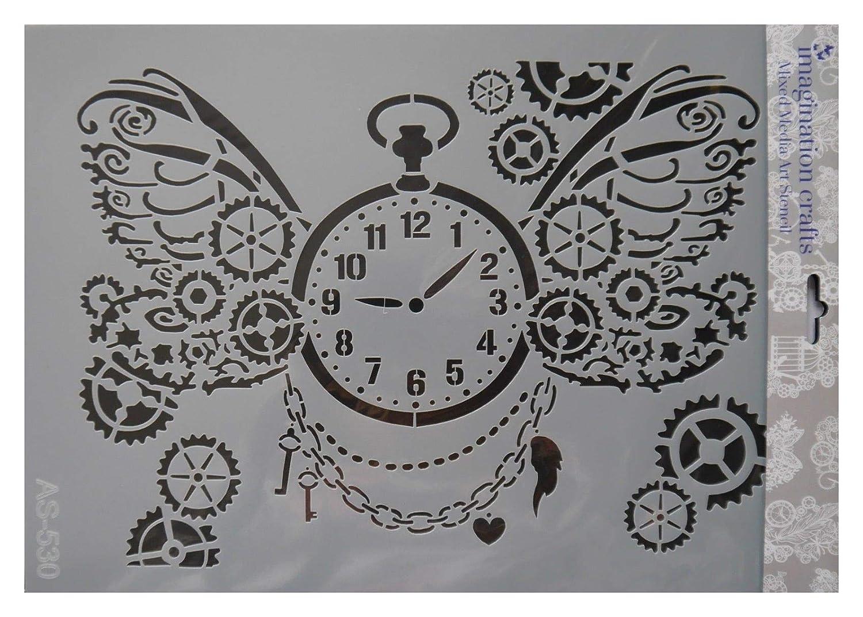 Machinery Industrial Studio Light Mixed Media Stencils Clockwork Gears Cogs