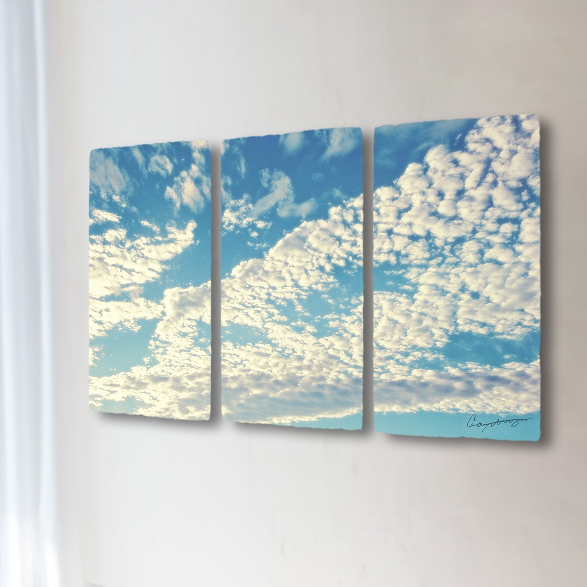和紙 アートパネル 3枚 続き 「青空に輝くうろこ雲」 (144x81cm) 絵 絵画 壁掛け 壁飾り インテリア アート B074XGF88W 36.アートパネル3枚続き(長辺144cm) 250000円|青空に輝くうろこ雲 青空に輝くうろこ雲 36.アートパネル3枚続き(長辺144cm) 250000円