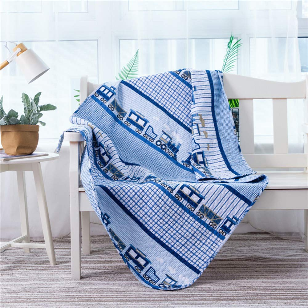 Abreeze Coverlet Quilt Bedspread Throw Blanket for Kid's Girl & Boys Bed Gift 100% Natural Cotton 4351 inches, Blue Train