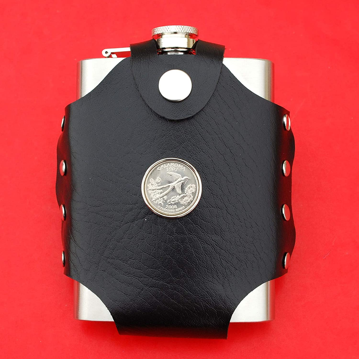 Liquor Water Wine etc. US 2008 Oklahoma State Quarter BU Uncirculated Coin Leak Proof Black PU Leather Wrapped Stainless Steel 8 Oz Hip Flask