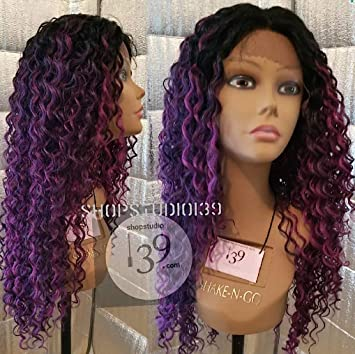 Amazon Com Celebrity Purple Water Wave Curly Hair Lace Front Wig