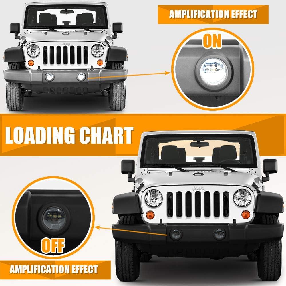 Pair Galvor 4 Inch Round LED Fog Light Bulb for Jeep Wrangler JK ...