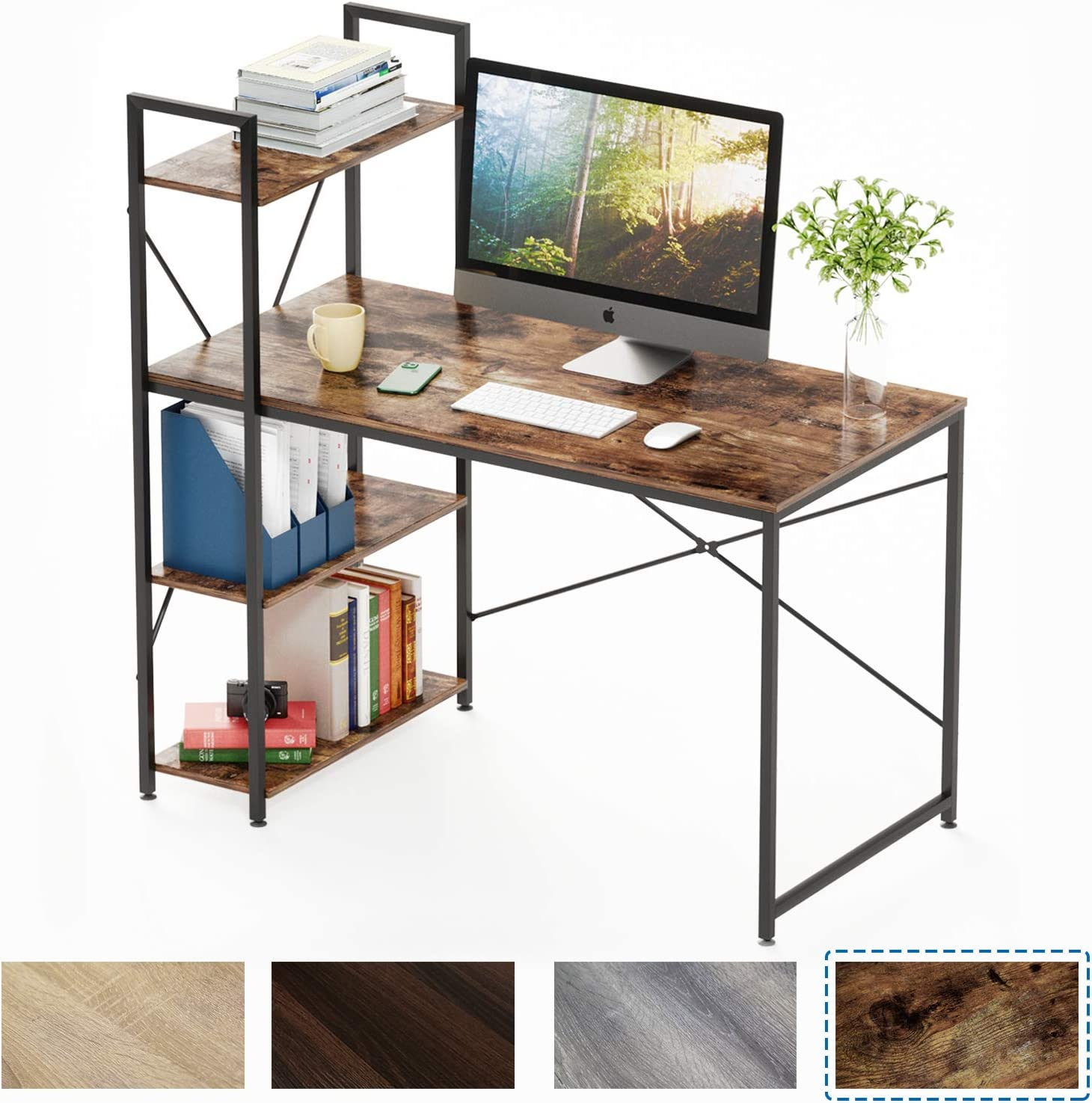 Bestier Computer Desk with Shelves,Writing Desk with Storage Bookshelf Reversible Study Table Office Corner Desk with Shelves Home Office Desk with Bookshelf Easy Assemble (47 Inch, Rustic Brown)