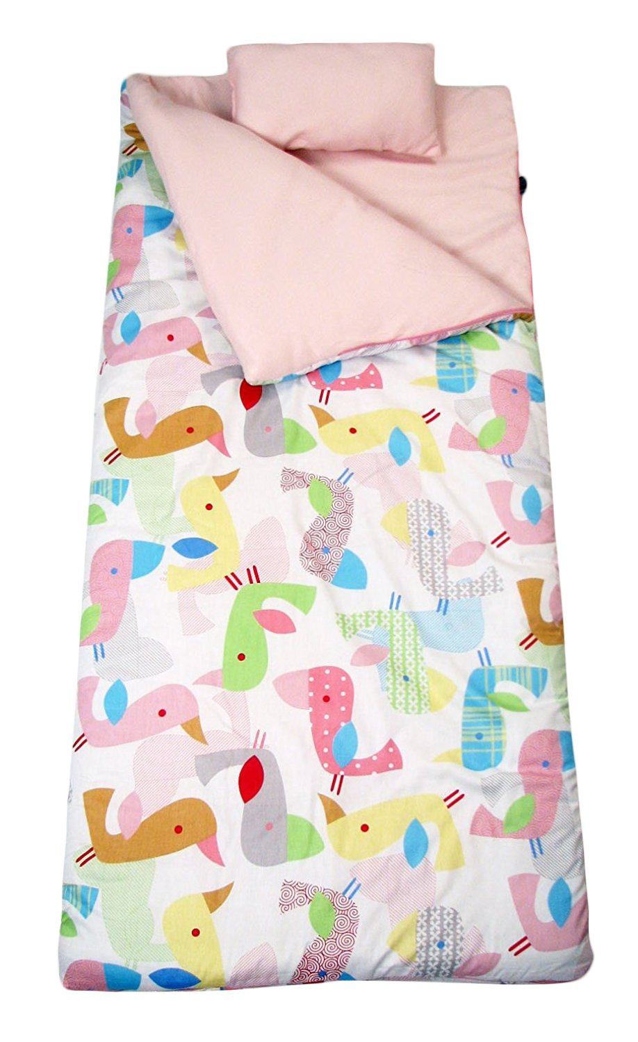 SoHo kids Sweet Flamingo Love children sleeping slumber bag with pillow and carrying case lightweight foldable for sleep over,Pink